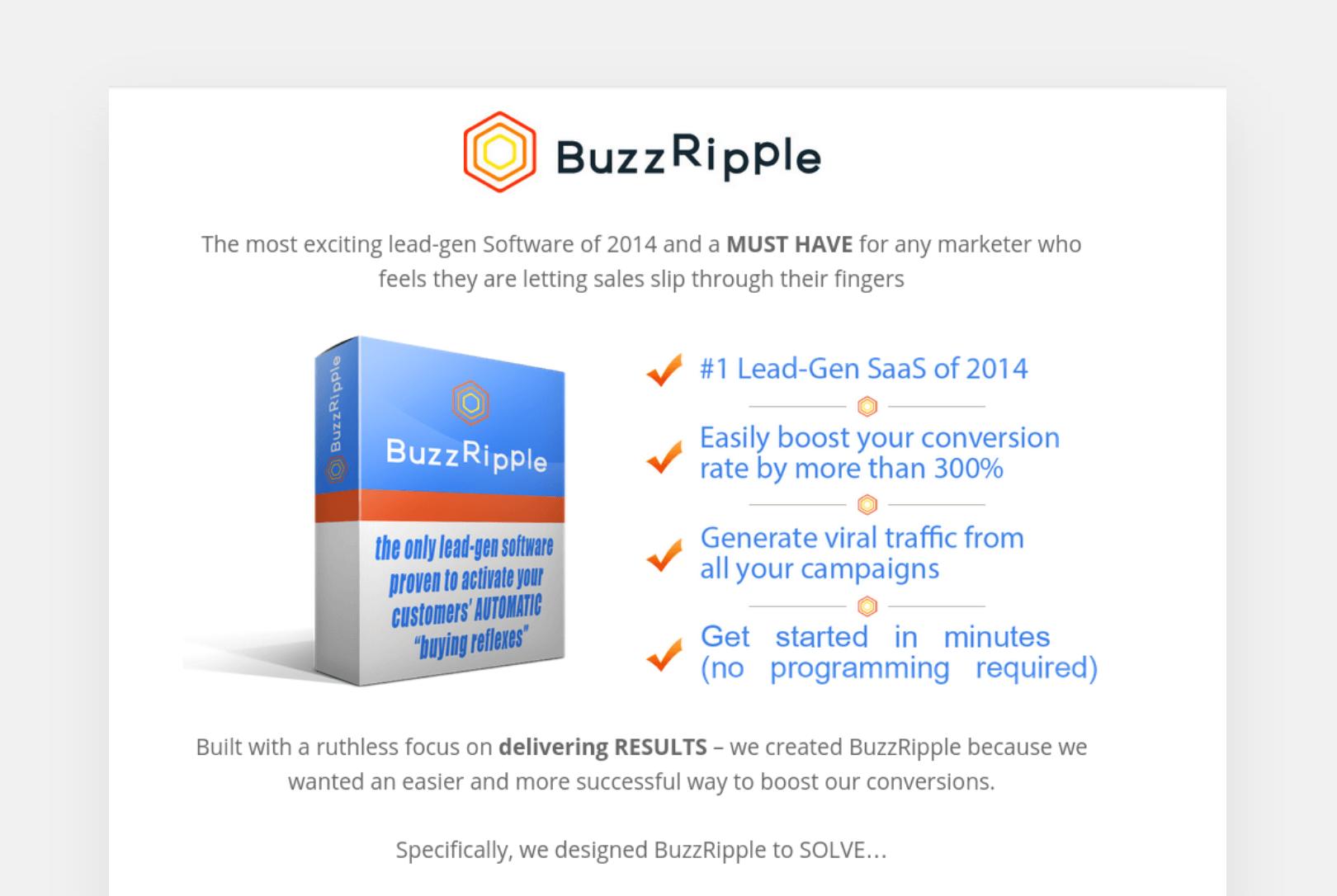 BuzzRipple lead-gen software page screenshot