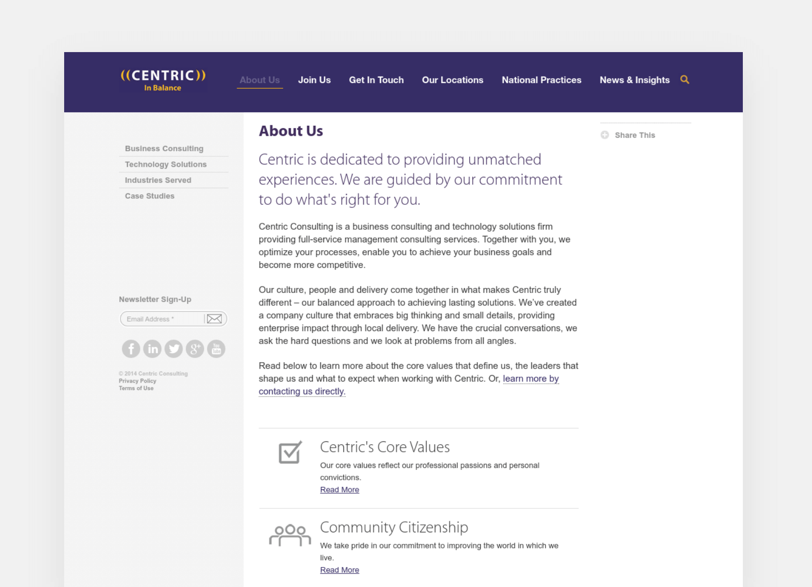 Centric Consulting About Us page screenshot