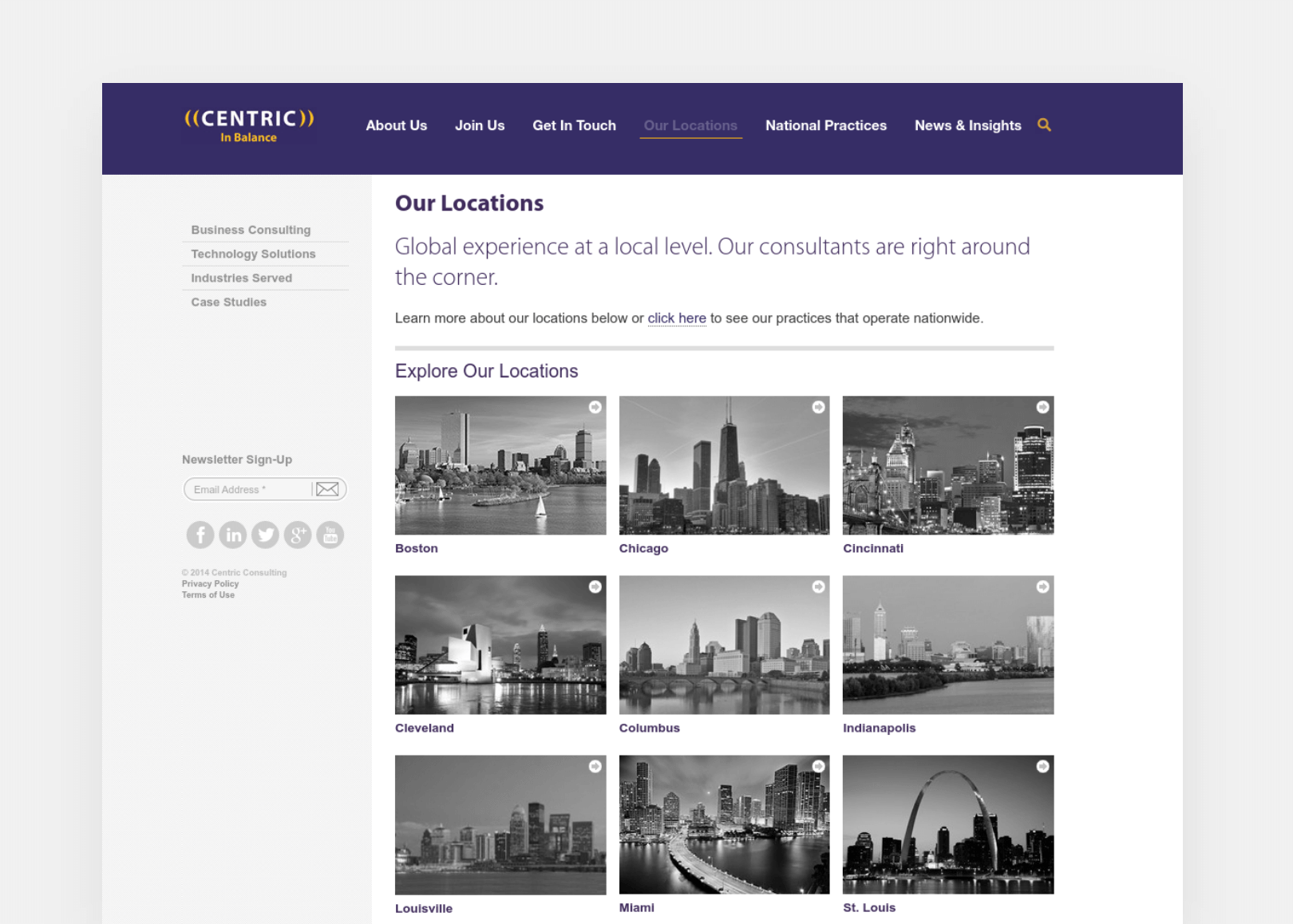 Centric Consulting Our Locations page screenshot