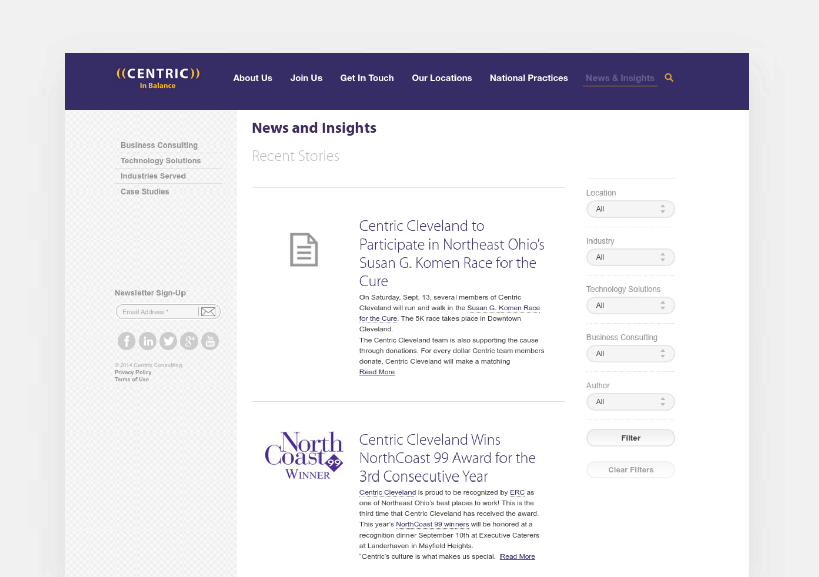 Centric Consulting News and Insights page screenshot
