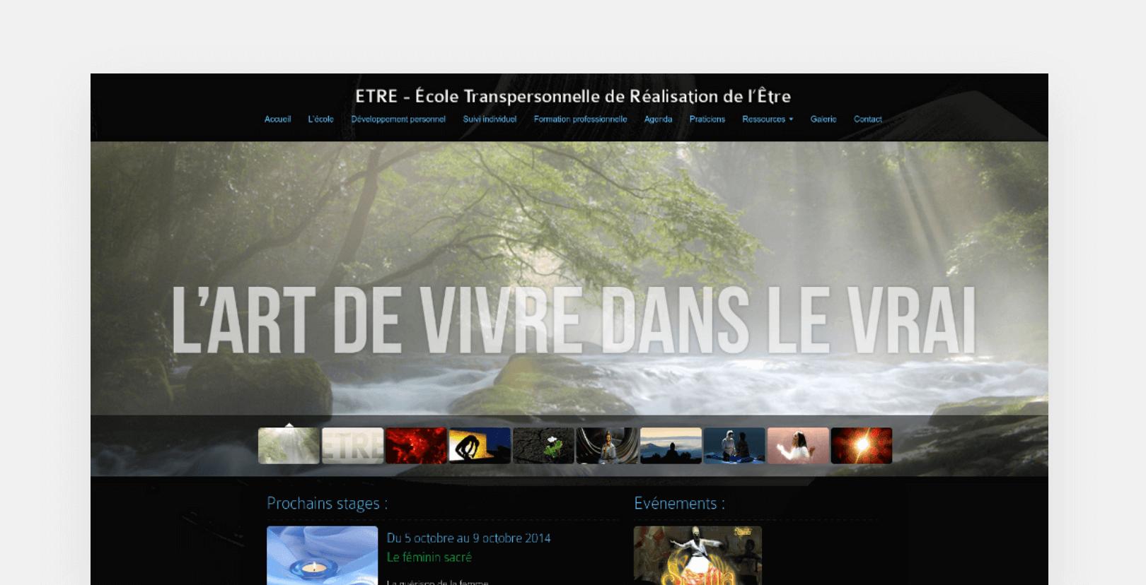 Ecole Etre home page screenshot