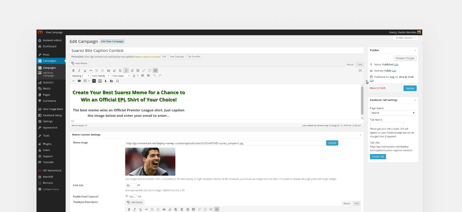 Edit campaign dashboard screenshot