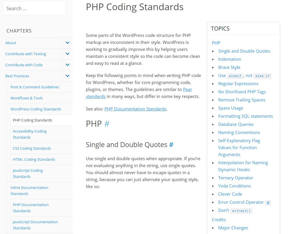 WordPress PHP development standards