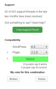 WordPress support requests and version compatibility