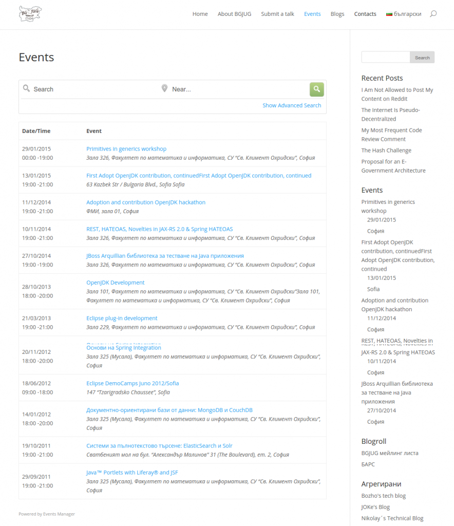 BGJUG – Java Bulgarian User Group - events