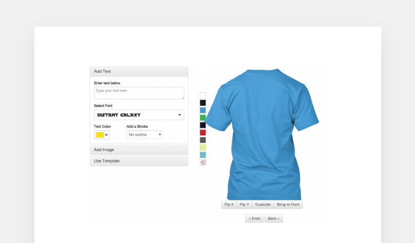 Screenshot showcasing the editing UI for tshirts