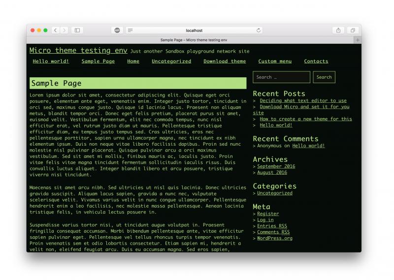 Screenshot of the Micro theme