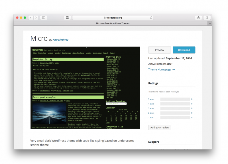 View of the theme on wordpress.prg