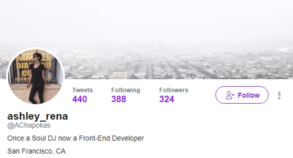 Ashley Chapokas' Twitter profile