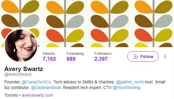 Avery Swartz's Twitter profile