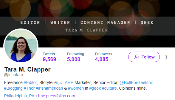 Tara M Clapper's Twitter profile