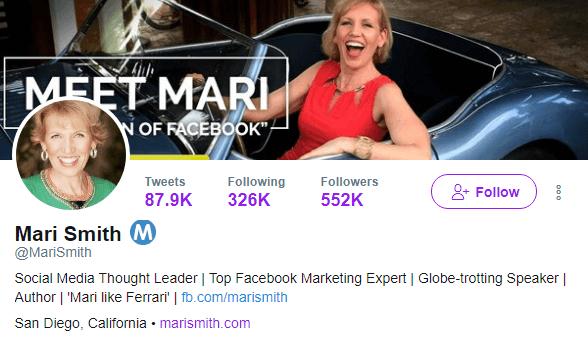 Mari Smith's Twitter profile