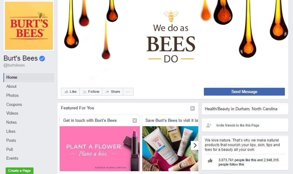 Burt Bees facebook page