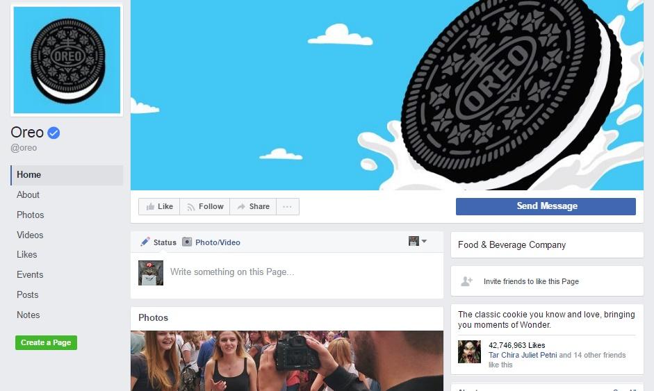Oreo facebook page