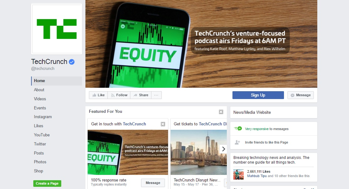 TechCrunch facebook page