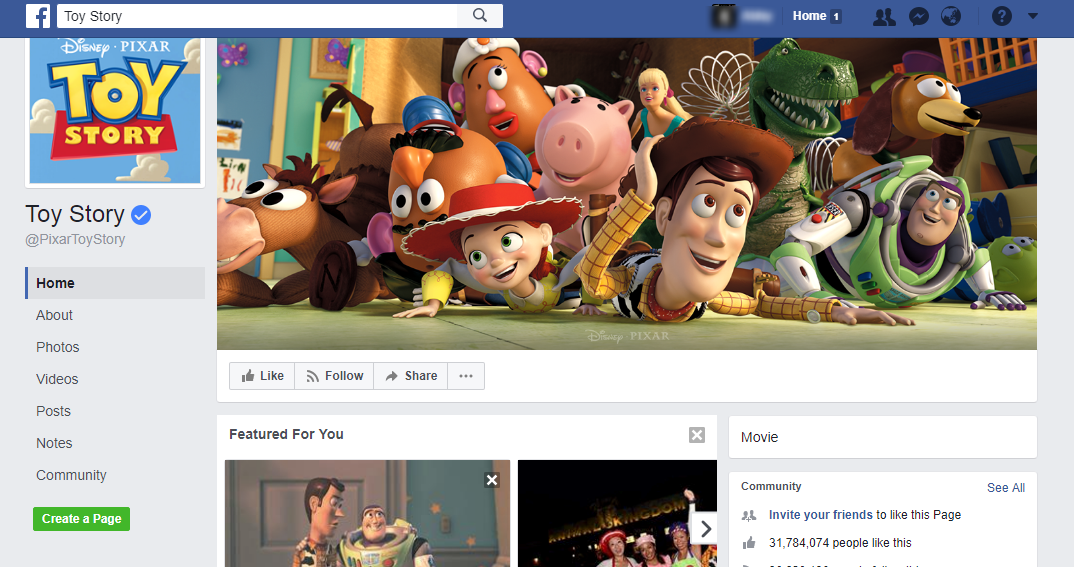 Toy Story Facebook Page