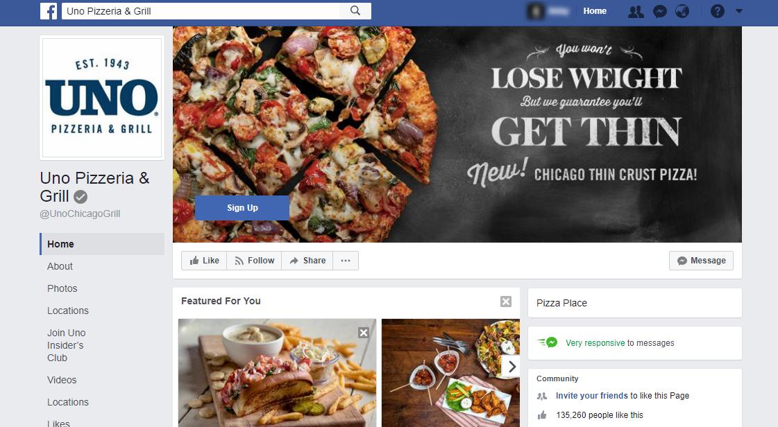 Uno Pizzeria and Grill Facebook Profile