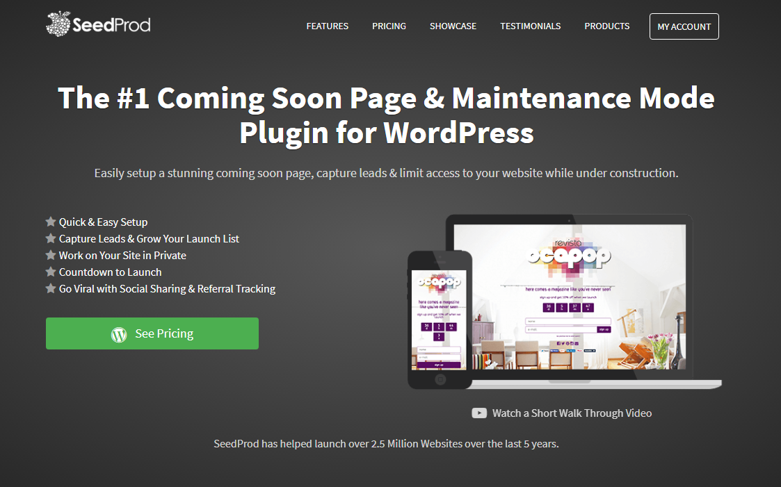Landing Page of SeedProd Coming Soon Page Plugin