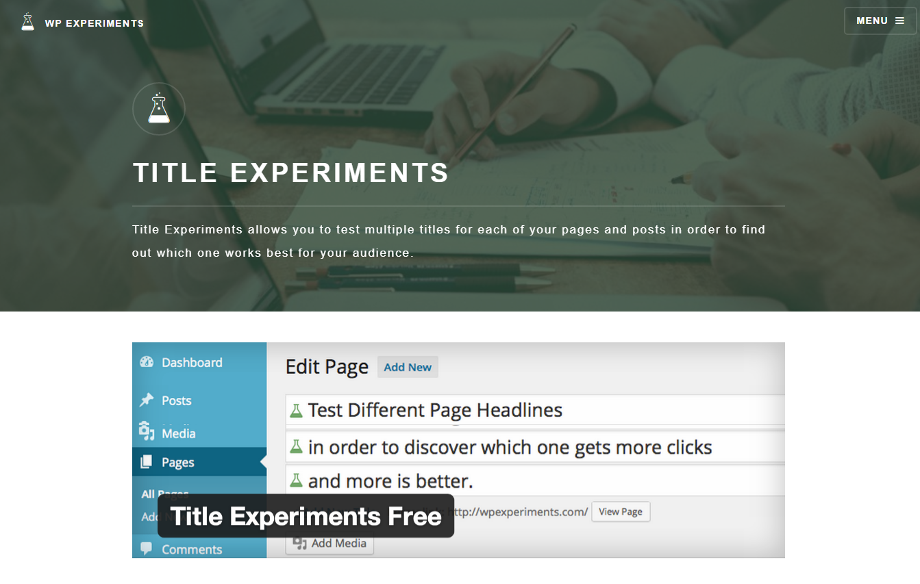 Title Experiments Headlines Plugin Landing Page