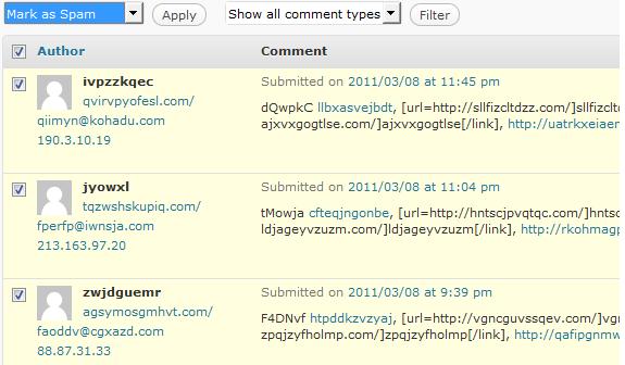 spam messages in WordPress Dashboard