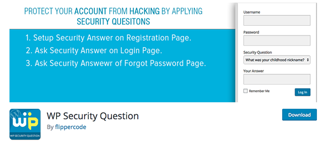WP Security Questions plugin
