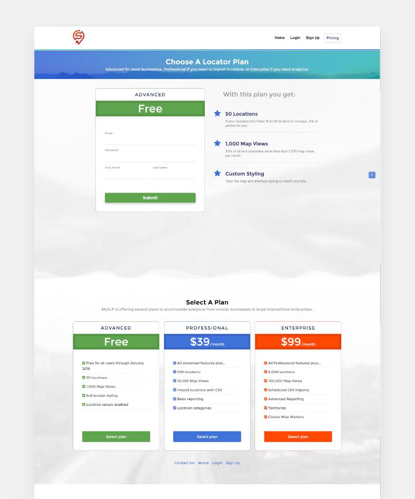 Choose a locator plan page screenshot