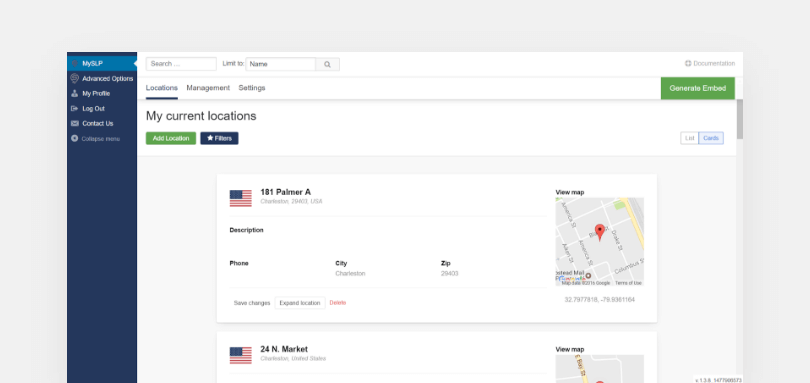 Sreenshot of the MySLP Dashboard containing my current locations information