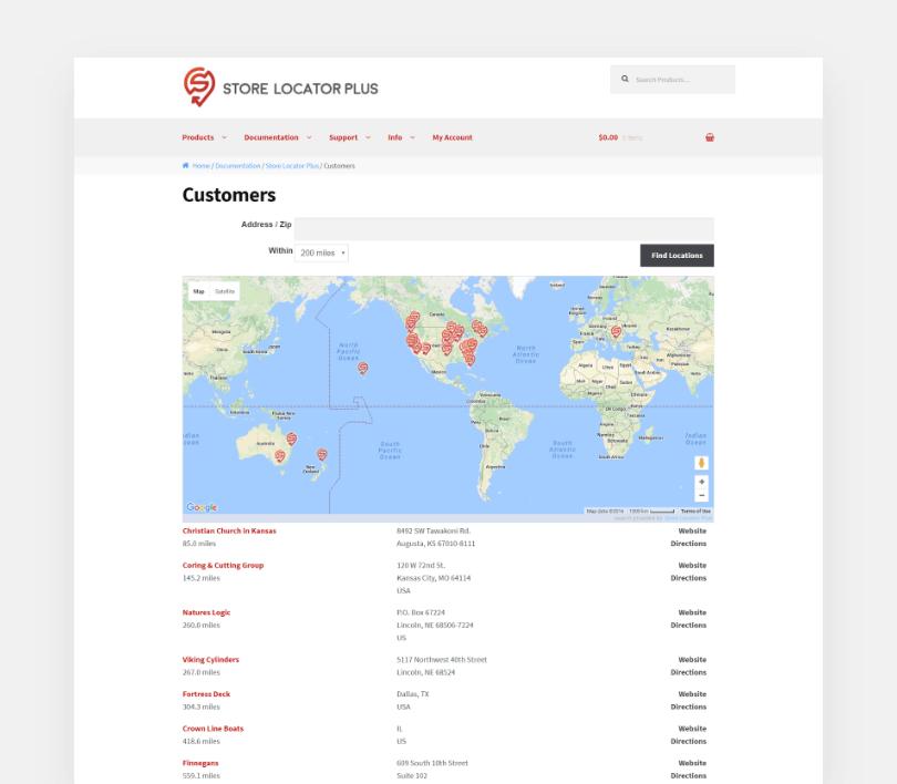 My Store Locator Plus Customers page screenshot