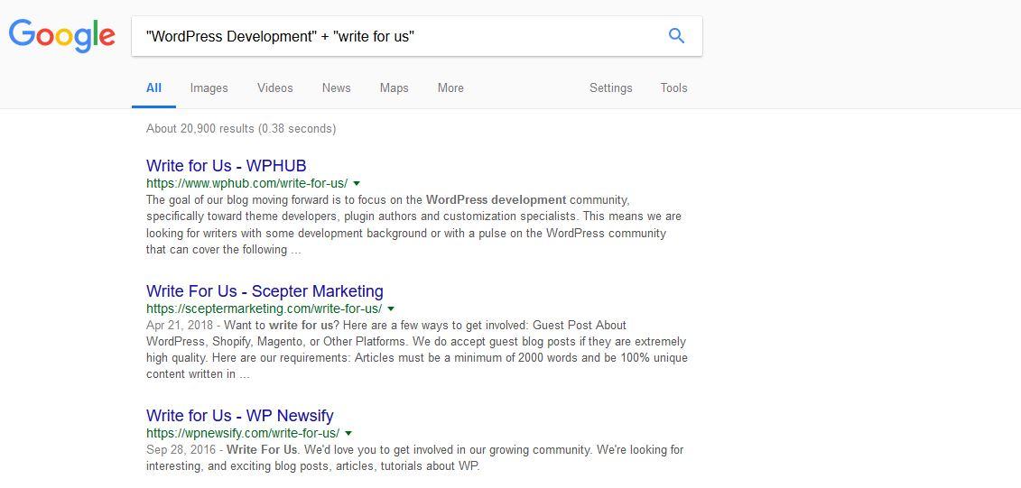 WordPress development search