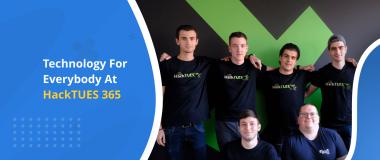 Team DevriX mentoring students at a hackathon HackTUES 365