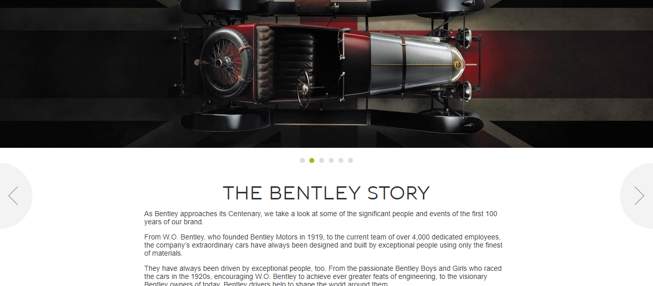 Bentley Motors About Us page