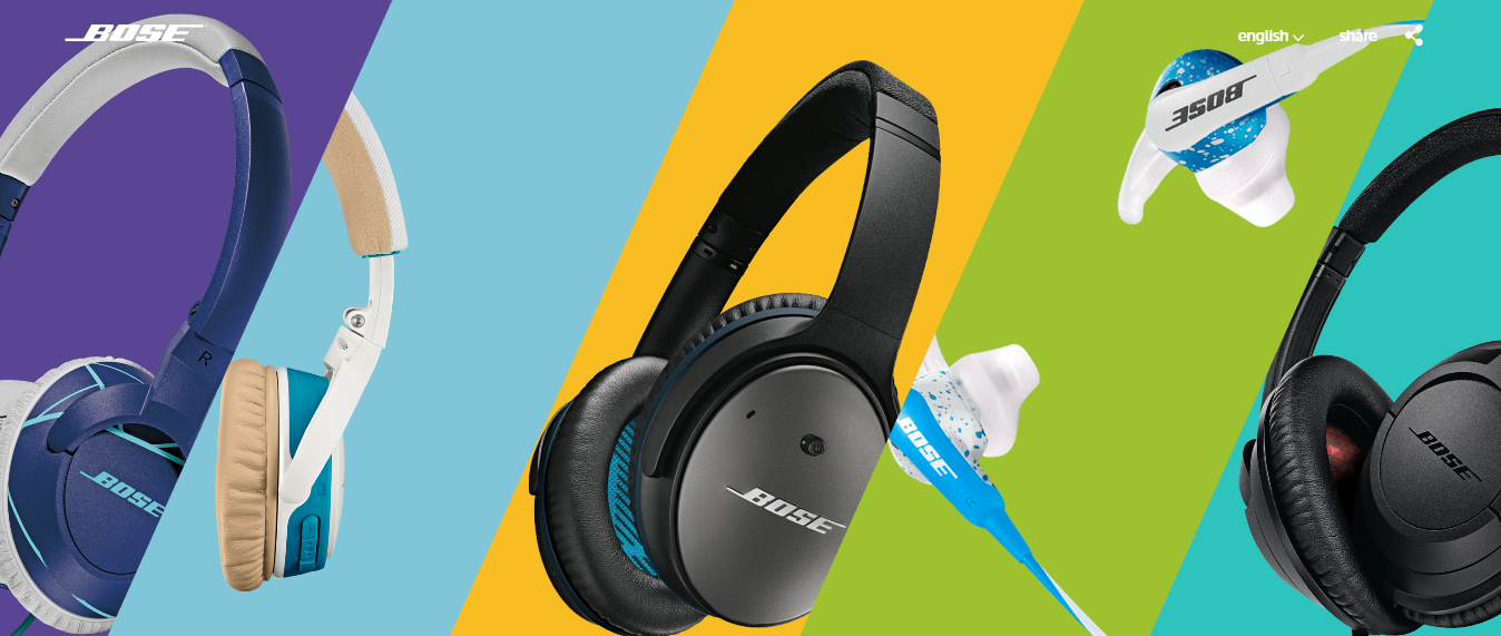 Bose split screen product showcase