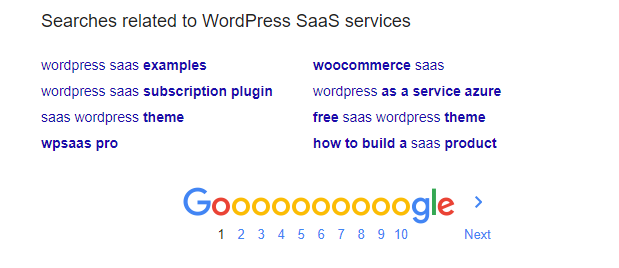 Google related searches WordPress SaaS services