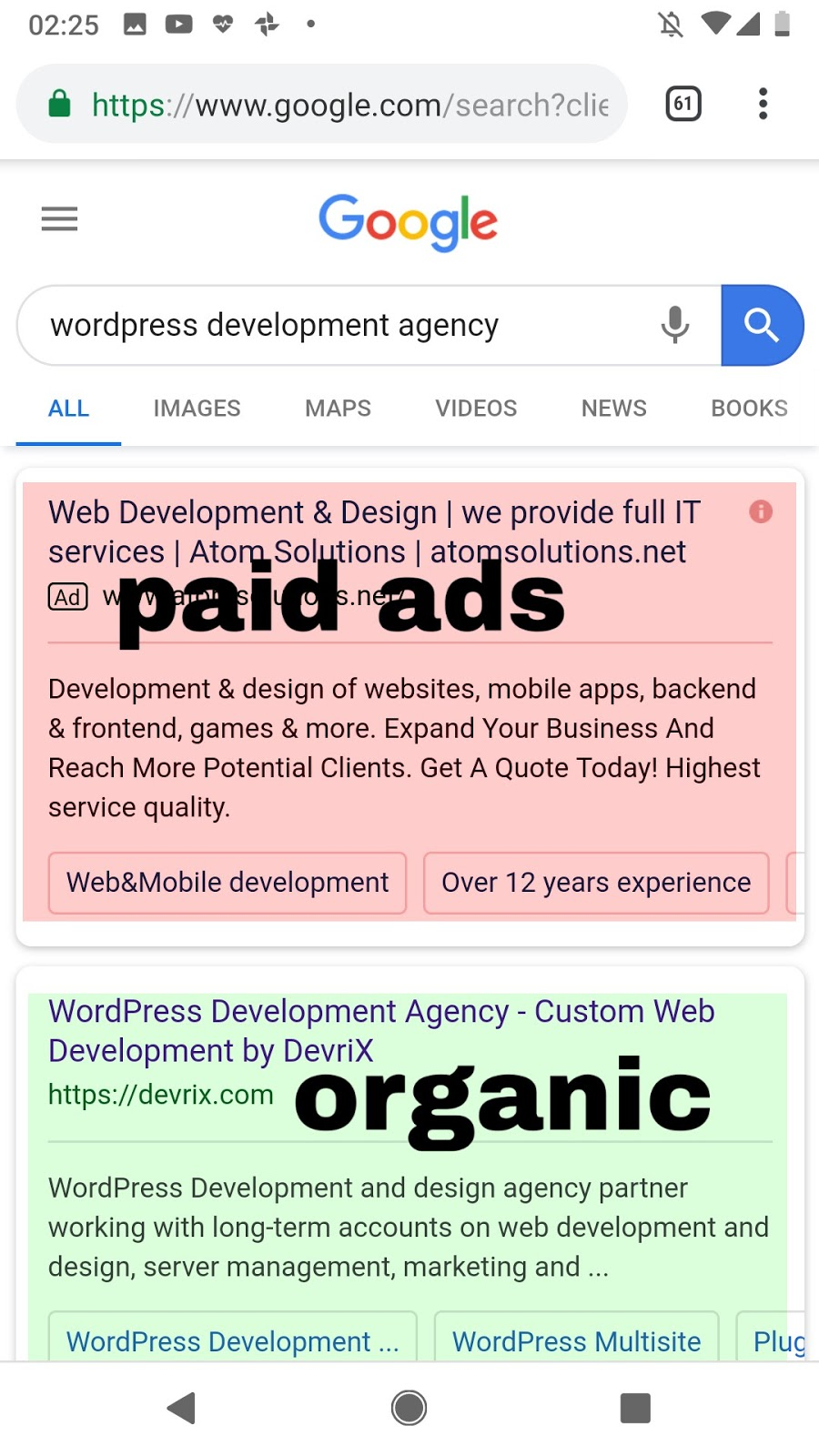 Paid ads vs organic search result