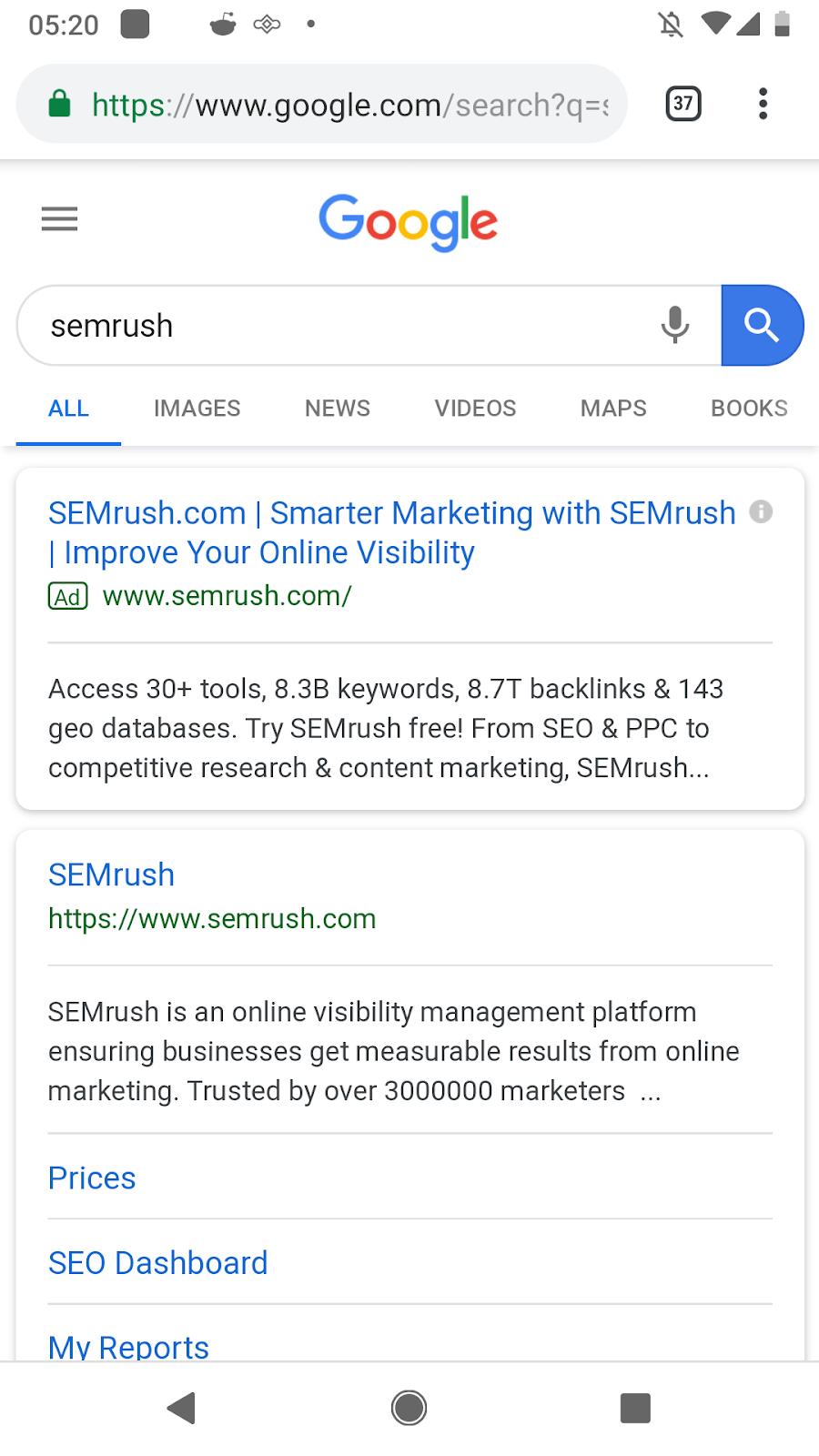 Semrush Google search results