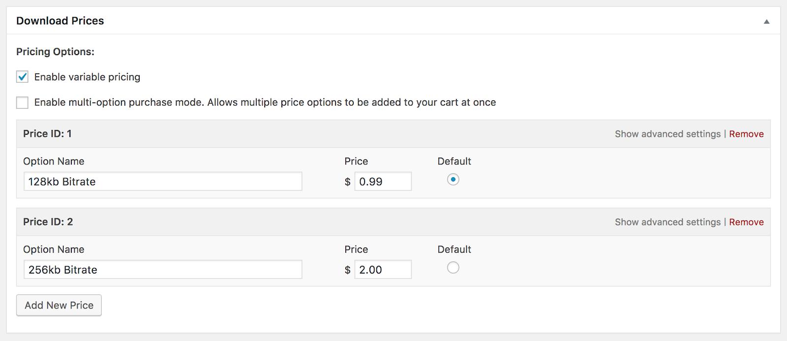Variable pricing option - EDD