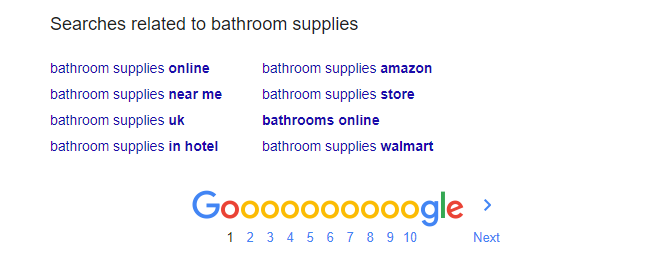 search suggestions bathroom supplies