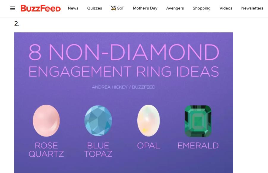 BuzzFeed 8 non-diamond engagement rin ideas infographic