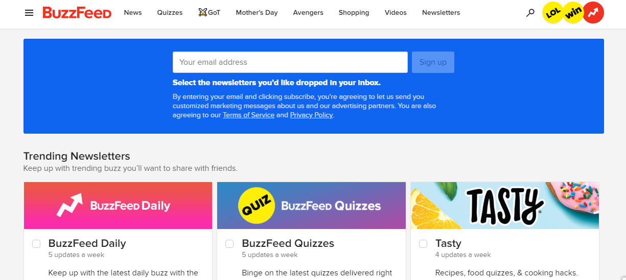 BuzzFeed email capture form on the website