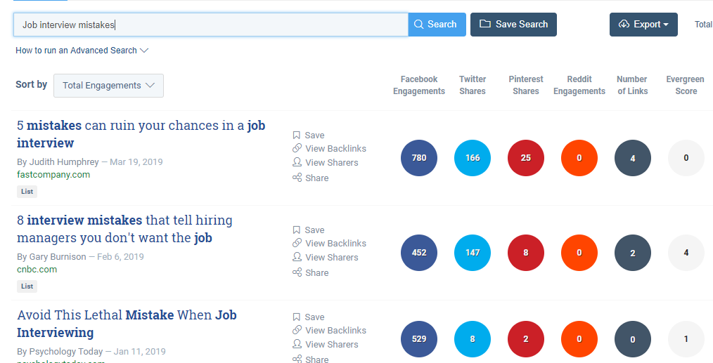 BuzzSumo Job Interview mistakes search results