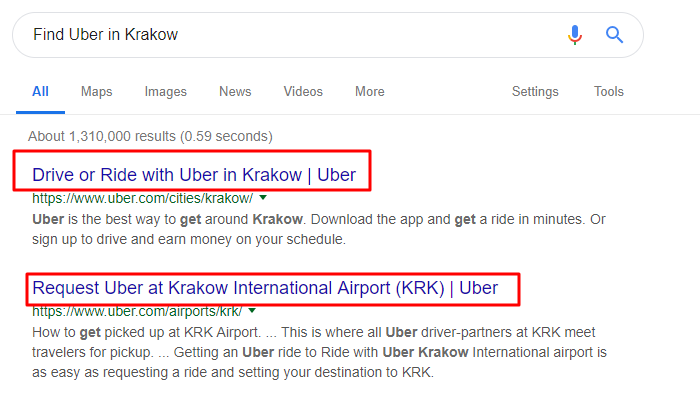 Find Uber in Krakow search result