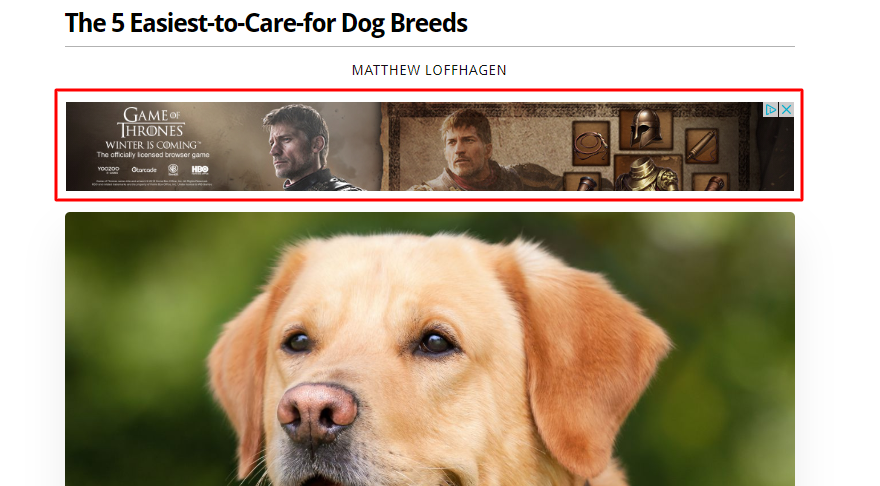 Game of Thrones ad banner on Obsev blog