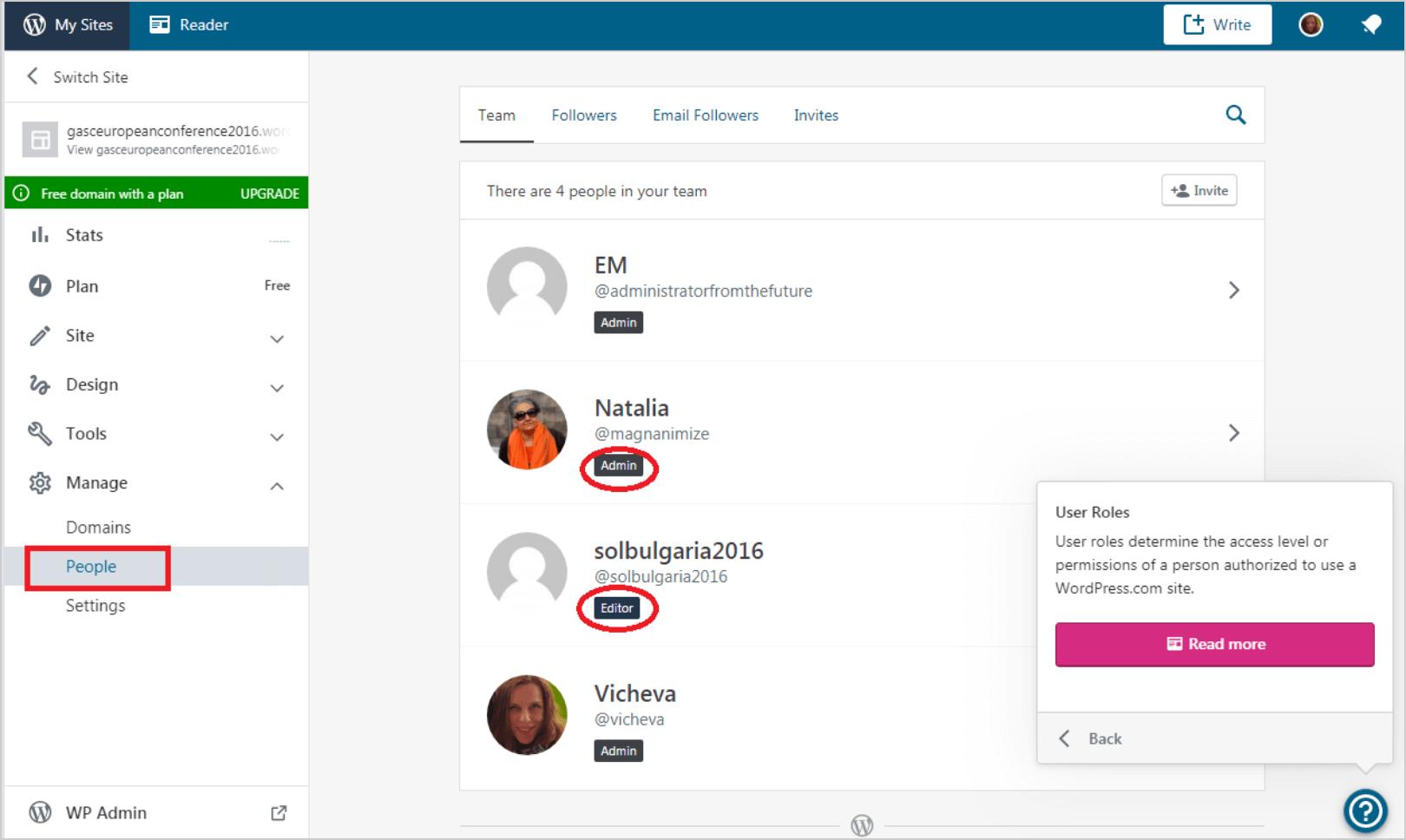 Managing user roles on WordPress.com admin