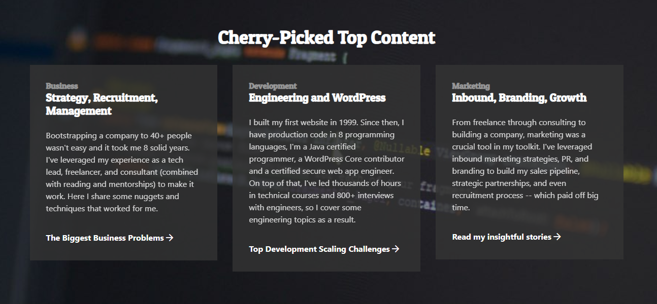 Mario Peshev cherry-picked top content