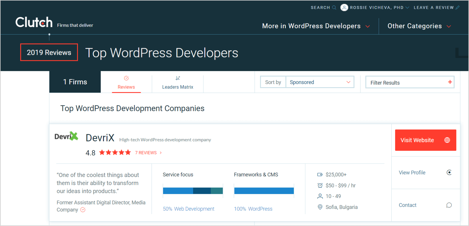 DevriX is the only Bulgarian company on the global top 30 WordPress leaders list
