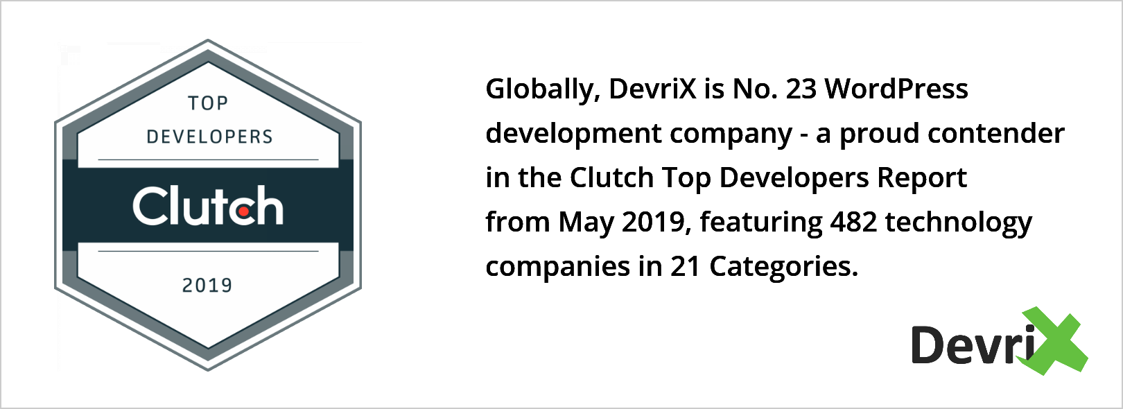 DevriX WordPress development company in Clutch 2019 Top Developers Report