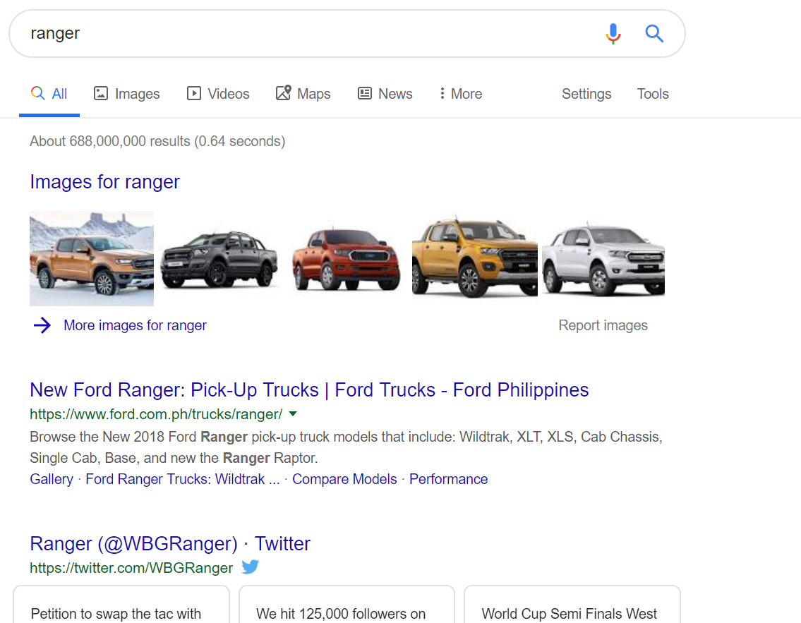 Ranger search engine search result