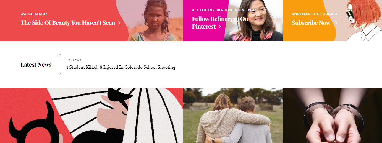 Refinery29 website showing consistent editorial