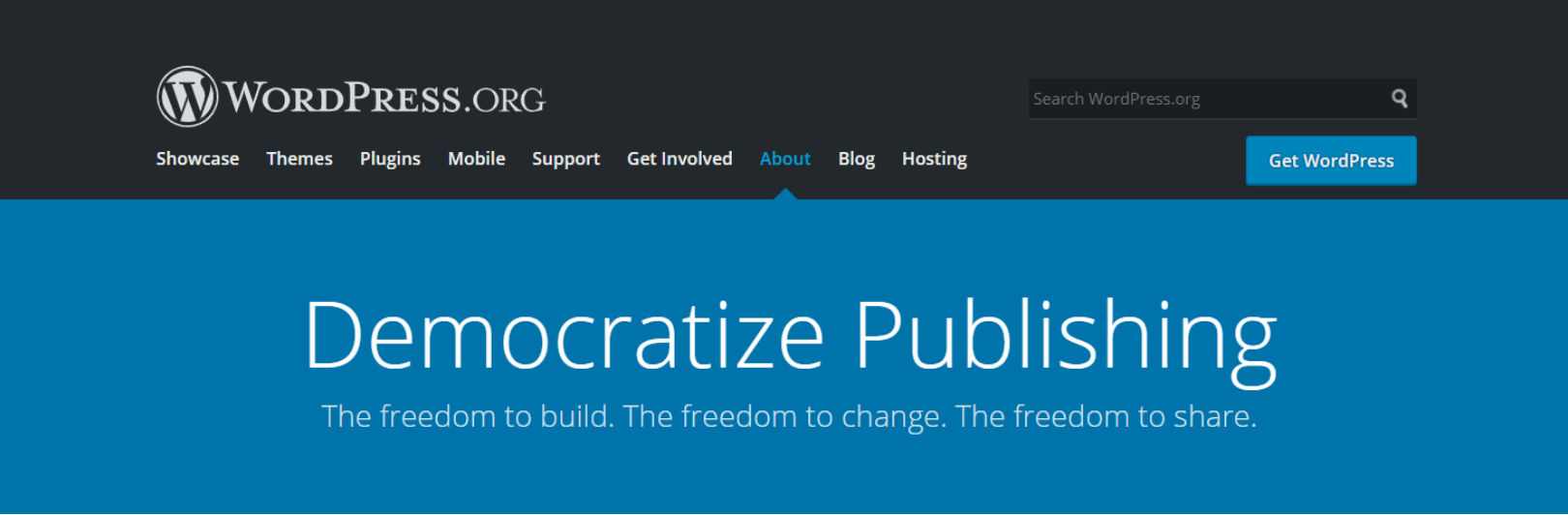 WordPress org About Page Democratize Publishing