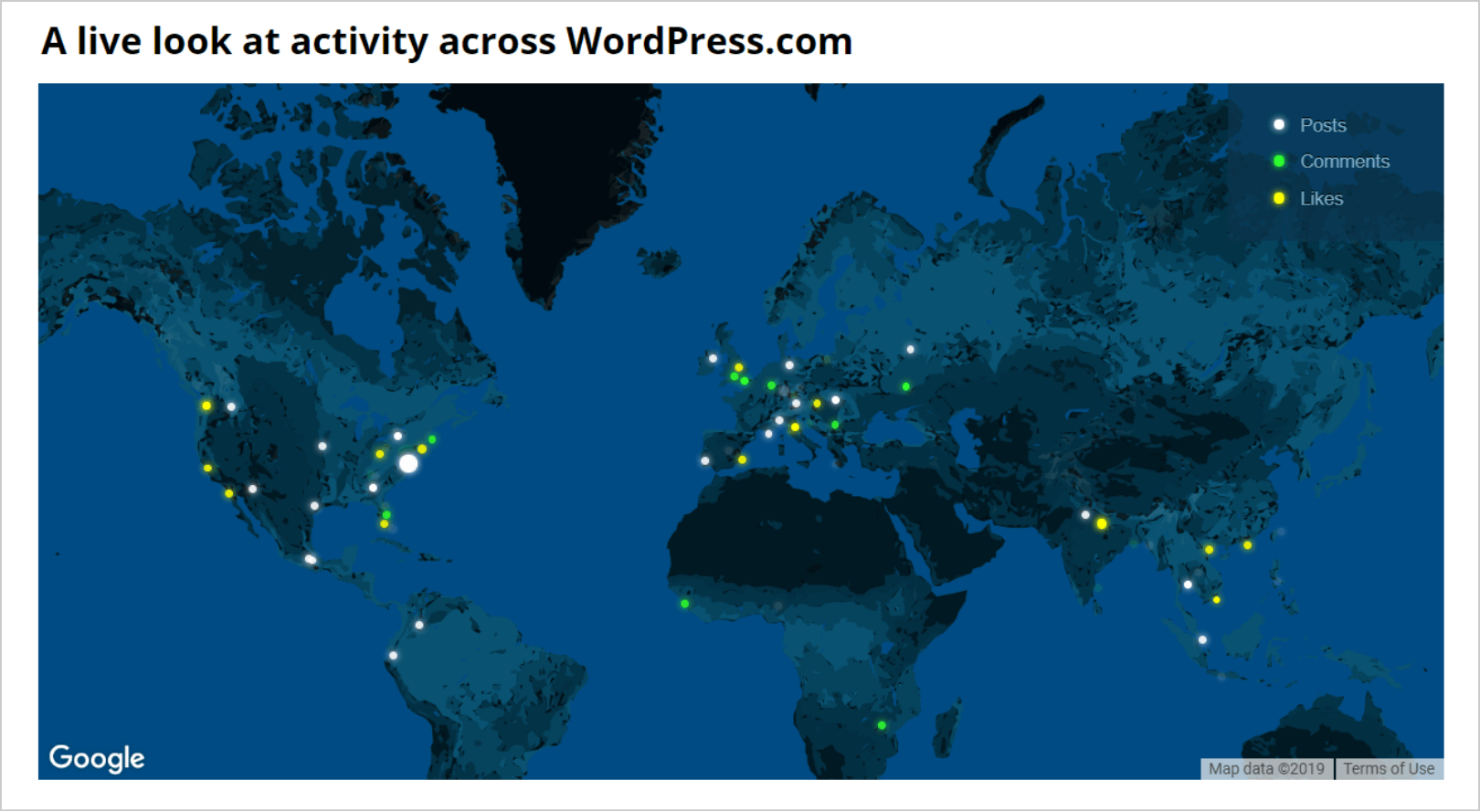 a live look at activities on wordpress com